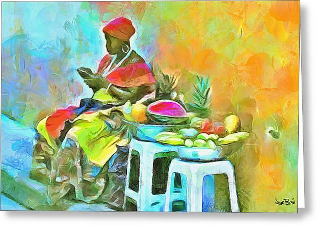 Caribbean Scenes - De Fruit Lady Greeting Card by Wayne Pascall