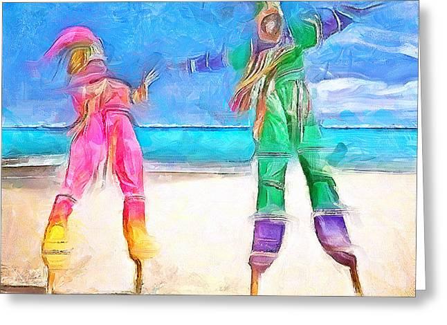 Caribbean Scenes - Moko Jumbie Greeting Card by Wayne Pascall