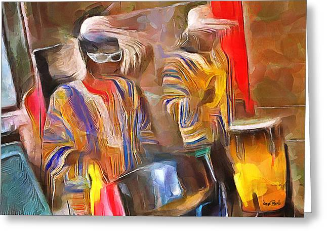 Caribbean Scenes - Pan And Drums Greeting Card