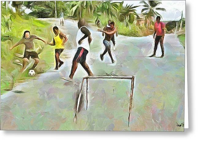 Caribbean Scenes - Small Goal In De Street Greeting Card