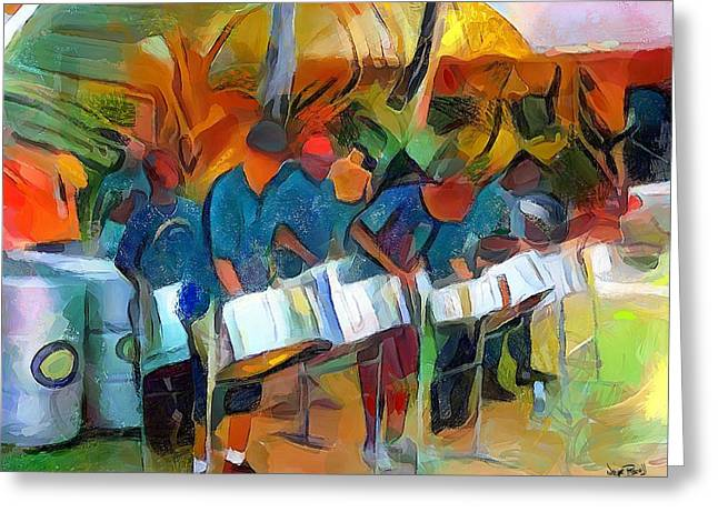 Caribbean Scenes - Steel Band Practice Greeting Card