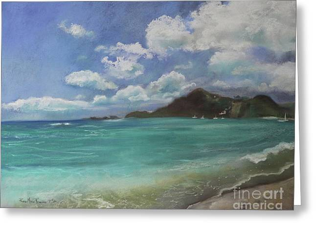 Greeting Card featuring the pastel Caribbean Sea Day Antigua by Robin Maria Pedrero