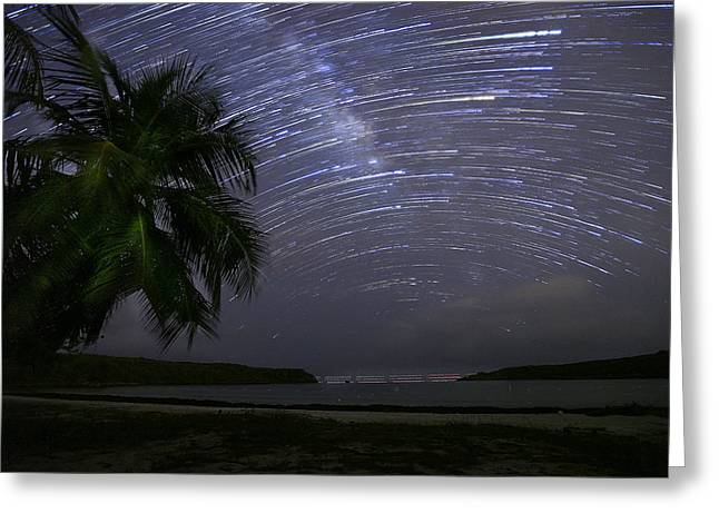 Caribbean Star Trails And Milky Way Greeting Card by Karl Alexander