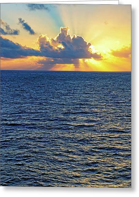 Greeting Card featuring the photograph Caribbean Sunrise At Sea - Ocean - Sun Rays by Jason Politte