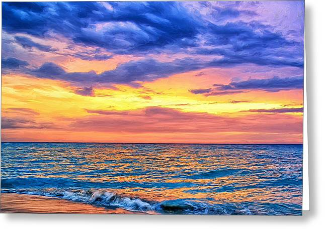 Caribbean Sunset Greeting Card by Dominic Piperata
