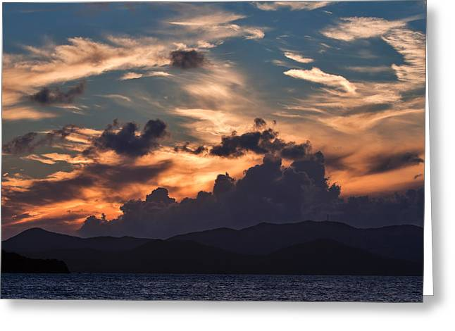 Caribbean Sunset Greeting Cards - Caribbean sunset Greeting Card by Louise Heusinkveld
