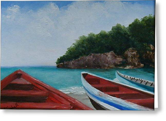 Caribbean Vessels Greeting Card by Betty Treadwell
