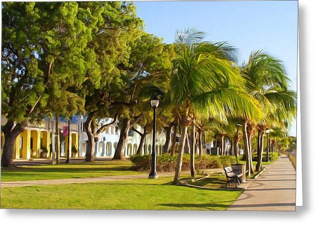 Caribbean Waterfront Greeting Card by Linda Morland