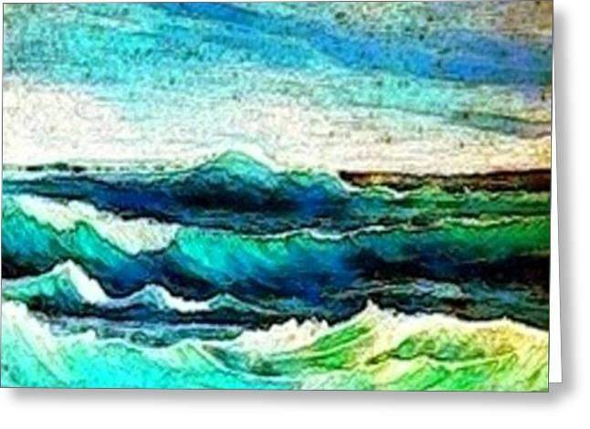 Caribbean Waves Greeting Card by Holly Martinson