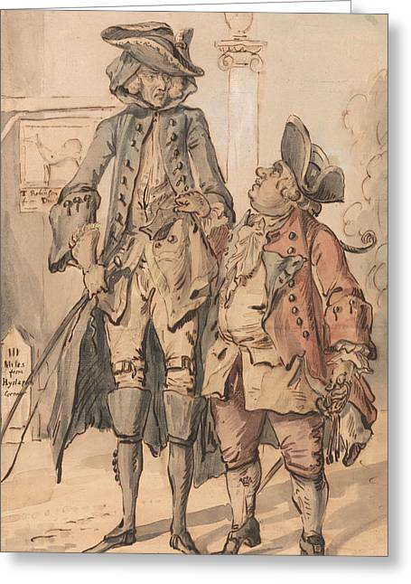 Caricature Of George Bubb Dodington And Sir Thomas Robinson Greeting Card by Paul Sandby