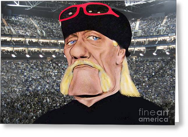 Caricature Of Wrestling Legend Hulk Hogan Greeting Card