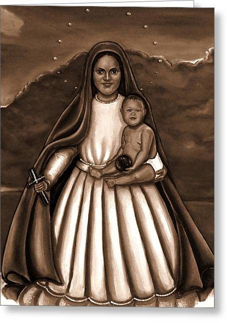 Caridad Del Cobre In Black And White Greeting Card