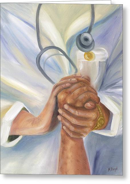 Caring A Tradition Of Nursing Greeting Card by Marlyn Boyd