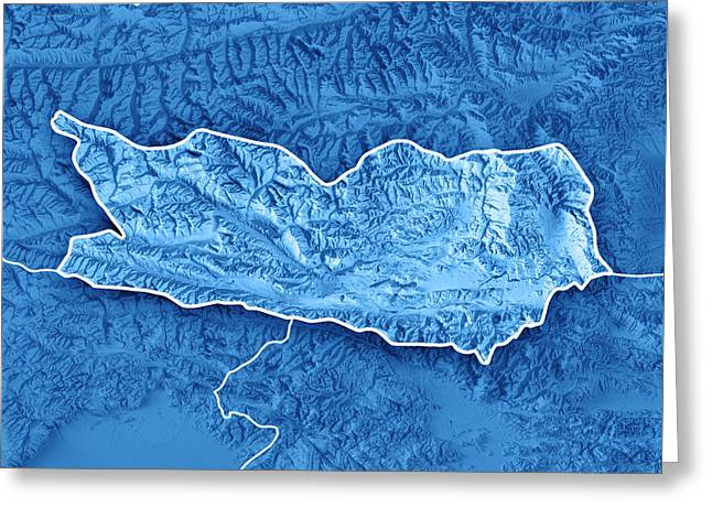 Carinthia State Austria 3d Render Topographic Map Blue Border Greeting Card