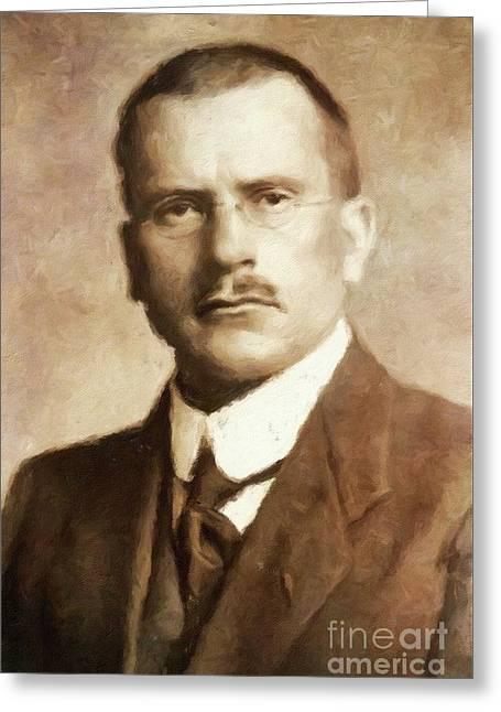 Carl Jung, Psychoanalyst By Mary Bassett Greeting Card by Mary Bassett