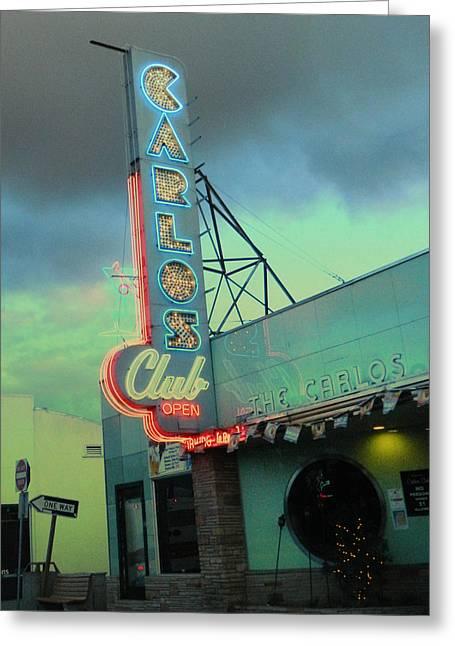 Carlos Club Greeting Card by Kathleen Grace