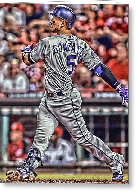 Carlos Gonzalez Colorado Rockies Art 1 Greeting Card by Joe Hamilton
