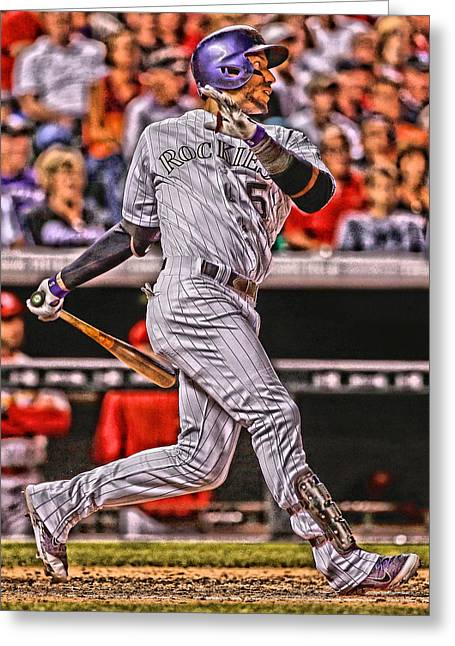 Carlos Gonzalez Colorado Rockies Art 2 Greeting Card by Joe Hamilton