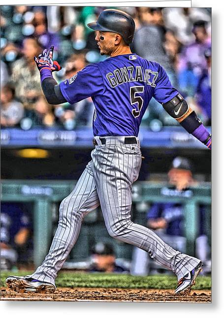 Carlos Gonzalez Colorado Rockies Art 3 Greeting Card by Joe Hamilton