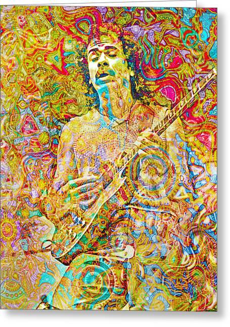 Carlos Santana Greeting Card by Mal Bray