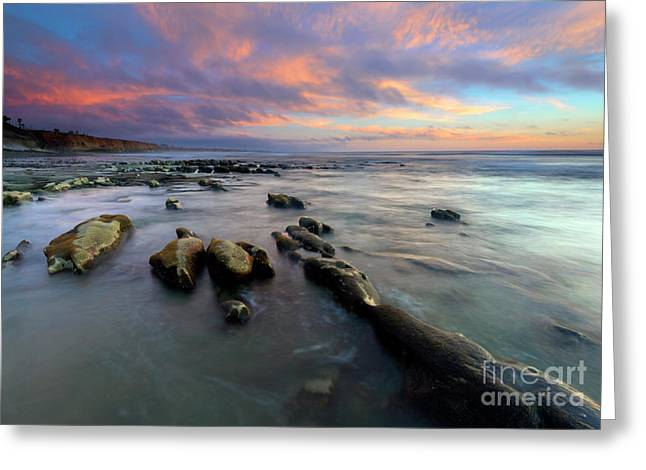 Carlsbad Beach Dusk Greeting Card by Mike Dawson