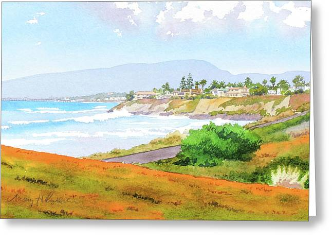 Carlsbad Rt. 101 Sunny Day Greeting Card by Mary Helmreich