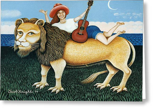 Carly Simon On Her Lion Greeting Card