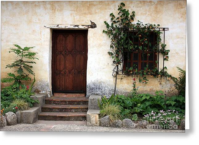 Stucco Greeting Cards - Carmel Mission Door Greeting Card by Carol Groenen