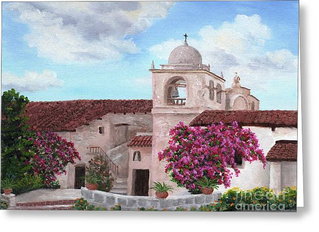 Carmel Mission In Spring Greeting Card by Laura Iverson
