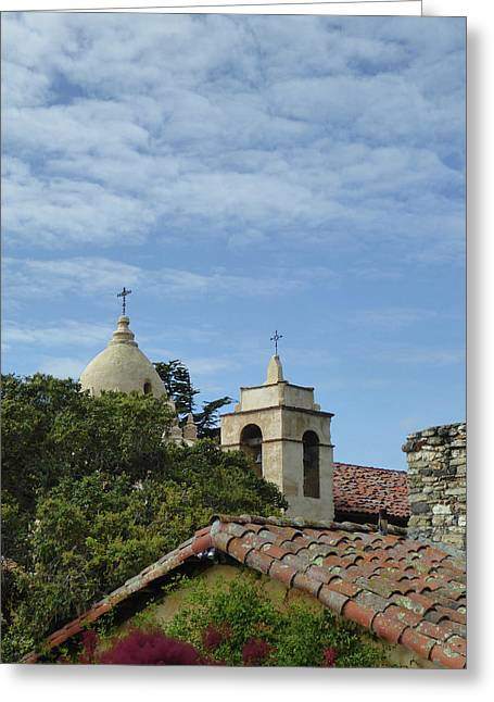 Carmel Mission Rooftops Greeting Card by Gordon Beck