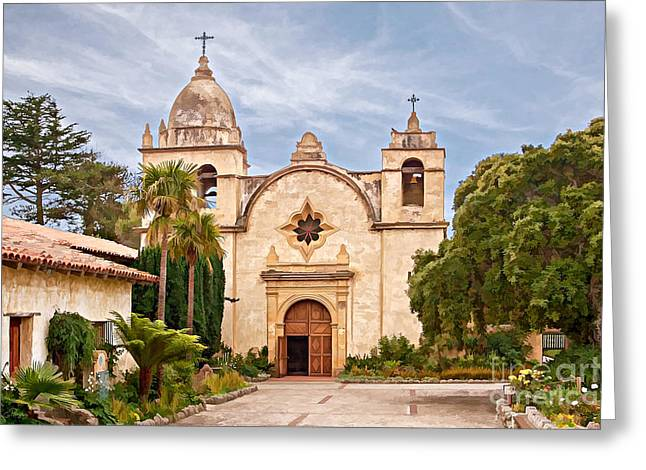 Carmel Mission San Carlos Borromeo Greeting Card by Gabriele Pomykaj