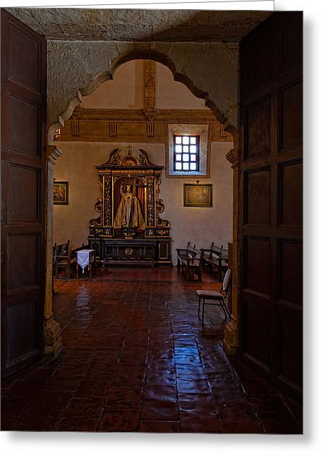 Carmel Mission Side Altar Greeting Card by Thomas Hall