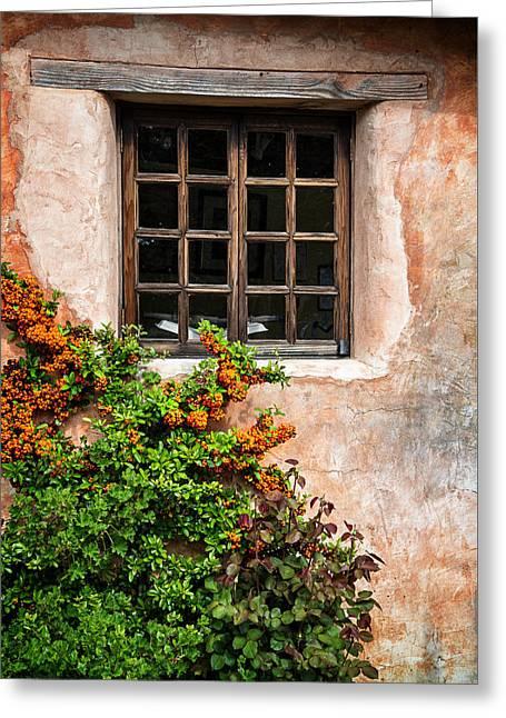 Carmel Mission Window Greeting Card by Lynn Bauer