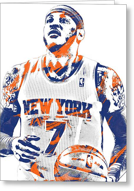 Carmelo Anthony New York Knicks Pixel Art 2 Greeting Card by Joe Hamilton