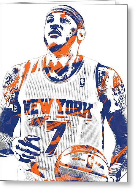 Carmelo Anthony New York Knicks Pixel Art 2 Greeting Card
