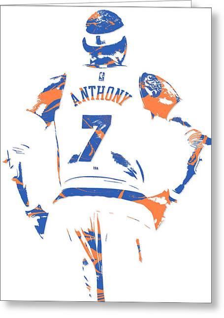 Carmelo Anthony New York Knicks Pixel Art 5 Greeting Card