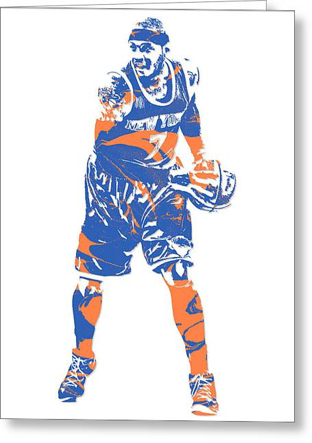 Carmelo Anthony New York Knicks Pixel Art 6 Greeting Card
