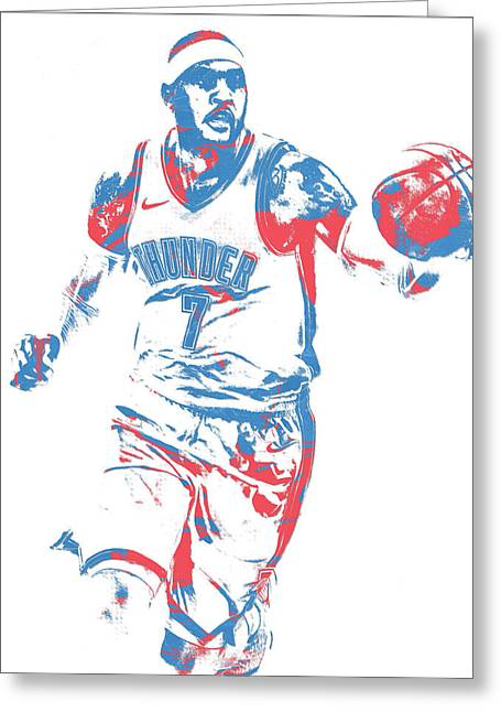 Carmelo Anthony Oklahoma City Thunder Pixel Art 3 Greeting Card