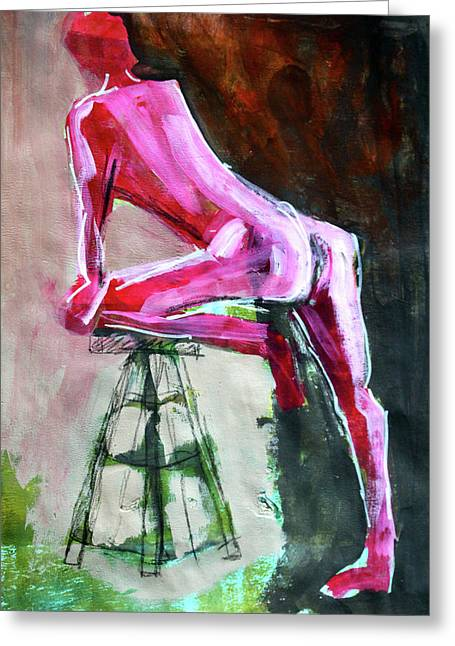 Greeting Card featuring the painting Carmine Figure No. 3 by Nancy Merkle