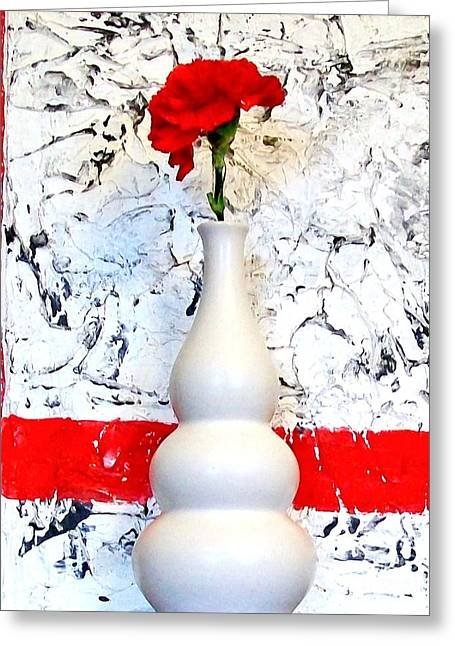 Carnation Against Wallpaper Greeting Card by Marsha Heiken