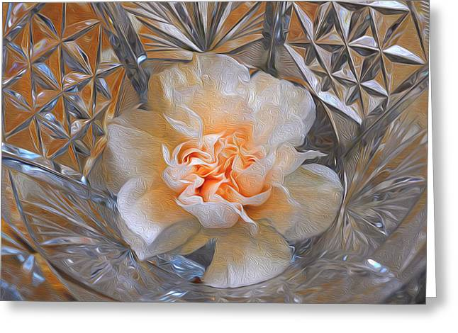 Carnation In Cut Glass 7 Greeting Card