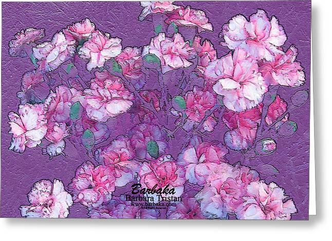Greeting Card featuring the digital art Carnation Inspired Art by Barbara Tristan