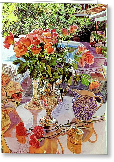 Carnations And Roses Greeting Card