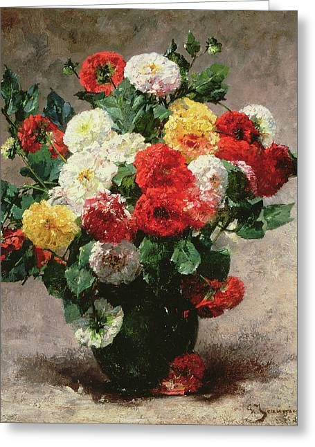 Carnations In A Vase Greeting Card by Georges Jeannin