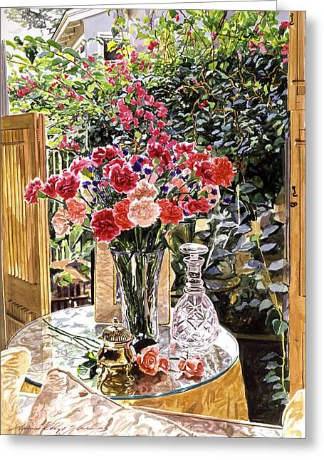 Carnations In The Window Greeting Card by David Lloyd Glover