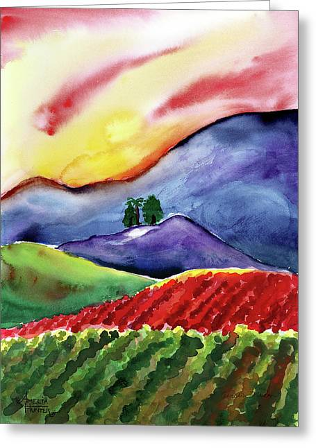 Carneros Sunset Greeting Card by Amelia Hunter