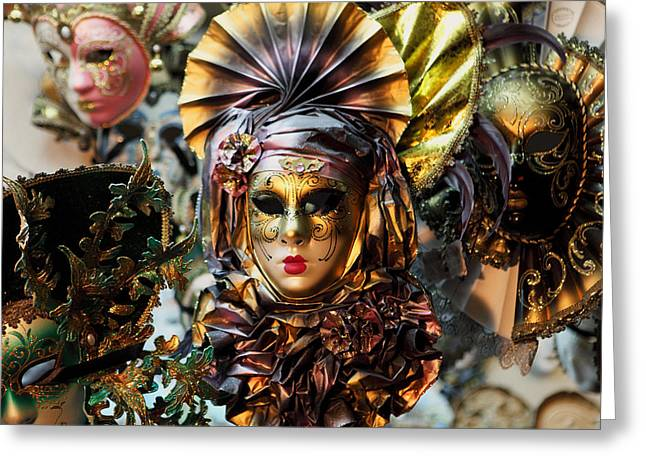 Carnevale Masks In Venice Greeting Card by Paul Cowan