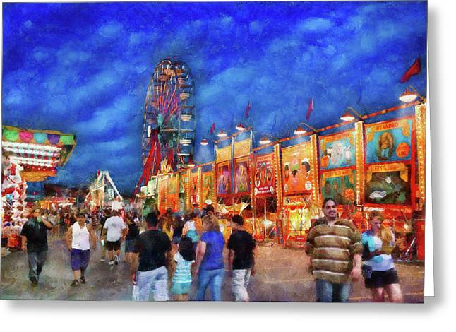 Carnival - The Carnival At Night Greeting Card by Mike Savad