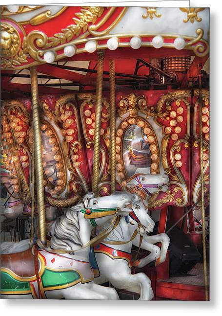 Carnival - The Carousel Greeting Card by Mike Savad