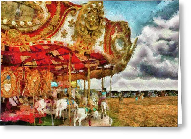 Big Top Greeting Cards - Carnival - The Merry-go-round Greeting Card by Mike Savad